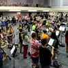 Enid High School band members practice inside the band room at the high school Tuesday August 12. (Staff Photo by BILLY HEFTON)