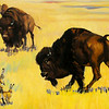 "Ruth Monro Augur's No. 1 mural ""The Hunter's Trail"" illustrates how Indians stalked buffalo before they possessed horses as the tribal women watched from the cliffs above the hunting grounds. The mural is located on the north wall of the west entrance to the Garfield County Courthouse. (Staff Photo by BONNIE VCULEK)"