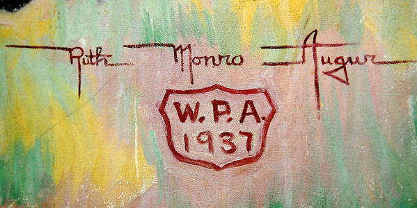 Ruth Monro Augur's signature appears on each of the six murals inside the Garfield County Courthouse. (Staff Photo by BONNIE VCULEK)