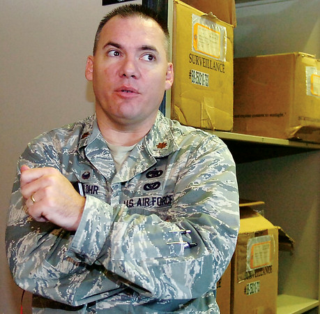 Maj. Mark Klohr explains responsibilities of the 71st Flying Training Wing Logistics Readiness Squadron at Vance Air Force Base Wednesday, August 20, 2014. (Staff Photo by BONNIE VCULEK)