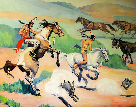 """Ruth Monro Augur's No. 4 mural """"The Commerce Trail"""" at the Garfield County Courthouse.  (Staff Photo by BONNIE VCULEK)"""