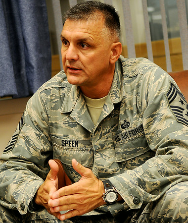 Vance Air Force Base's 71st Flying Training Wing Command Chief Peter Speen answers a question during a recent interview in his office Friday, August 8, 2014. (Staff Photo by BONNIE VCULEK)