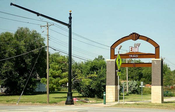 The city of Enid is installing new stop lights at the Enid Trails crossing on S. Van Buren Friday, August 01, 2014. (Staff Photo by BONNIE VCULEK)