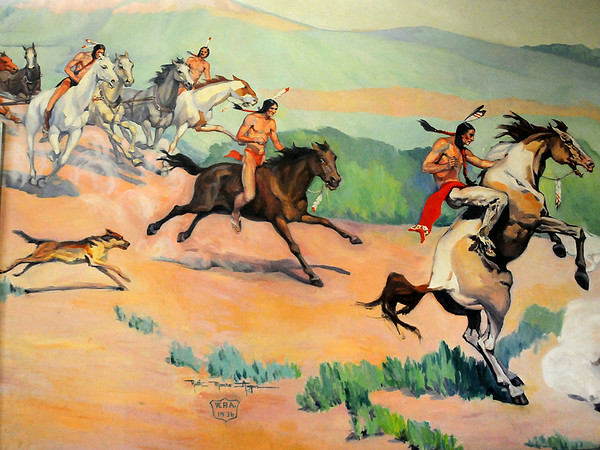 """Ruth Monro Augur's Mural No. 4 """"The Commerce Trail"""" shows the different types of transportation before the railroad was built across the Cherokee Strip. (Staff Photo by BONNIE VCULEK)"""