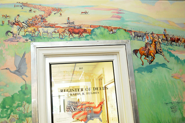 """Ruth Monro Augur's mural """"The Cattle Trail"""" at the Garfield County Courthouse (Staff Photo by BONNIE VCULEK)"""