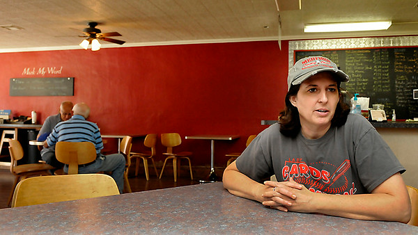 Kristi Clinage talks about the Mark My Word Coffeehouse and Deli during an interview August 7 in Medford. (Staff Photo by BILLY HEFTON)
