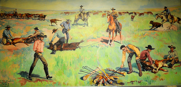 """Ruth Monro Augur's Mural No. 6 """"The Rancher's Trail""""  depicts the roping and branding of cattle. The mural is located at the top of the Garfield County Courthouse stairs in the courtroom lobby. (Staff Photo by BONNIE VCULEK)"""