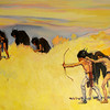 "Ruth Monro Augur's No. 1 mural ""The Hunting Trail"" shows Indians pursuing buffalo before they possessed horses. The mural is located on the north wall of the west entrance to the Garfield County Courthouse. (Staff Photo by BONNIE VCULEK)"