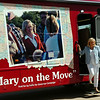 Oklahoma Gov. Mary Fallin, who is seeking re-election in November, arrives in Enid during a campaign bus tour Saturday, August 23, 2014. (Staff Photo by BONNIE VCULEK)