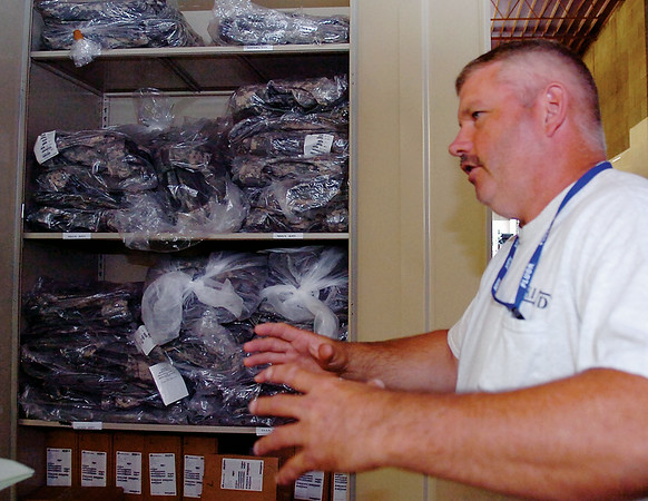 Gary Moser, mobility specialist PRI/DJI for the 71st Flying Training Wing Logistics Readiness Squadron explains the protective gear needed by airmen who are deployed from Vance Air Force Base Wednesday, August 20, 2014. (Staff Photo by BONNIE VCULEK)