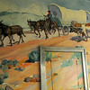 "Ruth Monro Augur's Mural No. 4 ""The Commerce Trail"" shows the different types of transportation before the railroad was built across the Cherokee Strip."