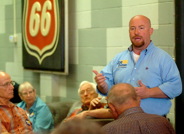 Joe Dorman, Democratic candidate for Governor, makes a campaign stop at 580 Coffeehouse Saturday, August 16, 2014. (Staff Photo by BONNIE VCULEK)