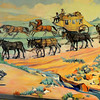"Ruth Monro Augur's Mural No. 4 ""The Commerce Trail"" shows the different types of transportation before the railroad was built across the Cherokee Strip. (Staff Photo by BONNIE VCULEK)"