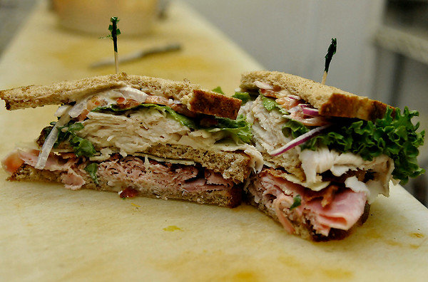 Club sandwich at the Mark My Word Coffeehouse and Deli in Medford. (Staff Photo by BILLY HEFTON)