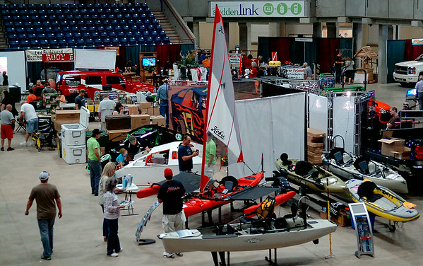 The annual KNID Sportsman's and Outdoor Expo features fishing demonstrations, 3-D Archery competitions, outdoor leisure equipment and $5,000 in door prizes at the Chisholm Trail Coliseum Saturday, August 23, 2014. The event continues Sunday until 5 p.m. (Staff Photo by BONNIE VCULEK)
