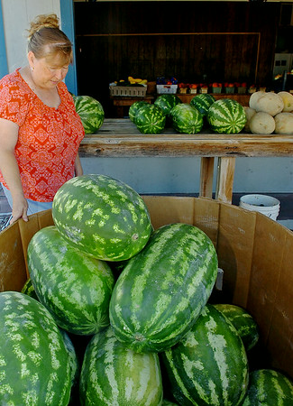 Gaye Cantellay, with Cantellay's Produce at 1217 S. Van Buren, discusses the different watermelons, other fresh fruits and vegetables at her stand. Green striped, red and yellow diamond, and seedless watermelons range from $6 - $10 in price. (Staff Photo by BONNIE VCULEK)