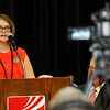 Megan Gaddis talks about overcoming addiction during a town hall meeting on state questions 780 & 781 Thursday August 4, 2016 at the NOC Gantz Center. (Billy Hefton / Enid News & Eagle)