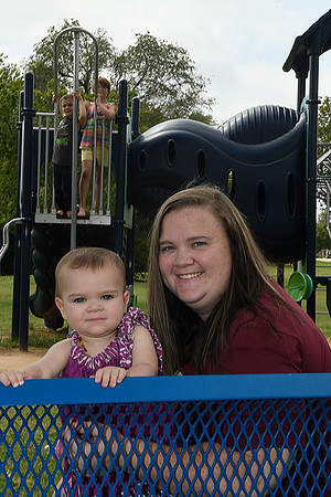 Jana Cathey with her children, Jette, JaColby and Jozalynn, Thursday August 10, 2017. (Billy Hefton / Enid News & Eagle)