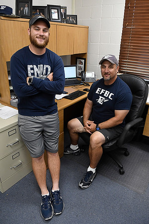 Enid head football coach, Steve Hayes, with his son Jake Hayes August 19, 2017. (Billy Hefton / Enid News & Eagle)