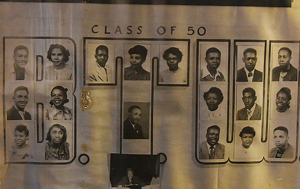 A 1950 senior class photo from Booker T Washington High School on display in the Leona Mitchell Museum August 11, 2017. (Billy Hefton / Enid News & Eagle)