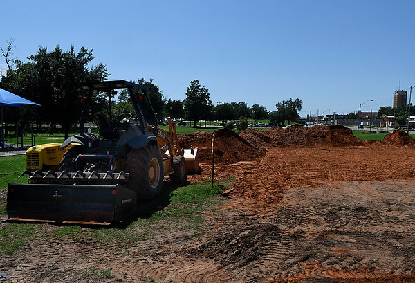 Dirt work on the site where bathrooms, trailhead and parking are going to be built at Don Haskins Park. (Billy Hefton / Enid News & Eagle)