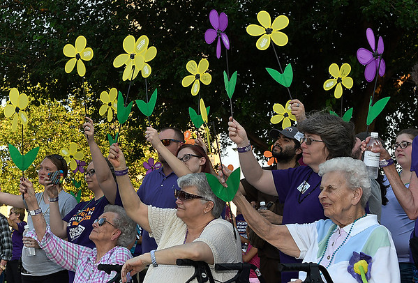 Supports hold up promise flowers before the start of the Walk to Enid Alzheimer's Friday August 4, 2017 in downtown Enid.  More than 300 walkers took part in the event that raised almost $50,000. (Billy Hefton / Enid News & Eagle)