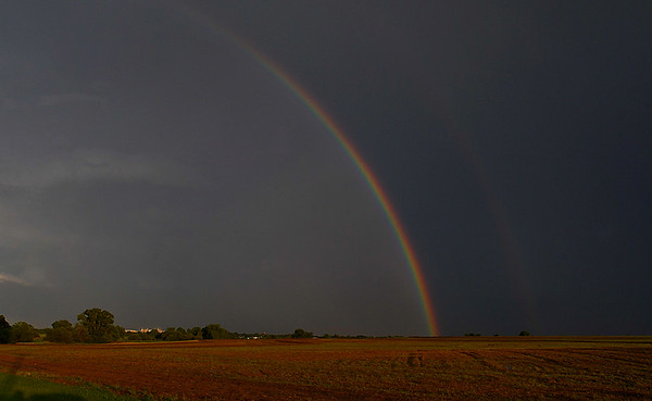 A rainbow filled the sky after a thunderstorm moved through Enid Wednesday August 16, 2017. (Billy Hefton / Enid News & Eagle)