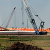 Cranes and wind turbines section at the TP&L storage facility August 17, 2017. (Billy Hefton / Enid News & Eagle)