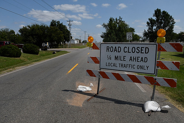 A road closed sign on west Chestnut August 31, 2017. (Billy Hefton / Enid News & Eagle)