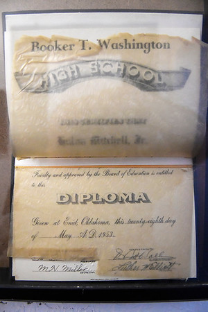 A 1953 diploma from Booker T Washington High School on display in the Leona Mitchell Museum August 11, 2017. (Billy Hefton / Enid News & Eagle)