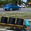 Traffic makes its way through the 4-way stop at the intersection of Rupe and Cleveland August 31, 2017 after an accident knocked out the traffic lights. (Billy Hefton / Enid News & Eagle)