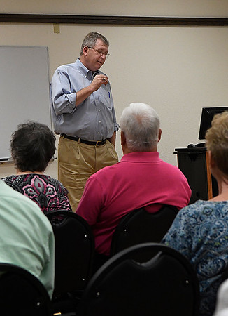 Congressman Frank Lucas gestures as he talks during a town hall meeting at the NOC Enid Gantz Student Center August 30, 2017. (Billy Hefton / Enid News & Eagle)