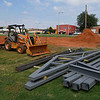 Steel frames lay on the northeast corner of Don Haskins Park August 26, 2017. The park is under going improvements including a trailhead, parking and a restroom. (Billy Hefton / Enid News & Eagle)