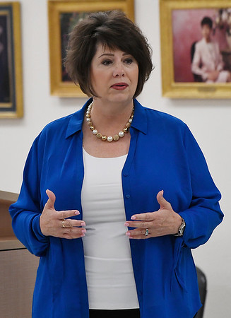 Republican labor commissioner candidate, Cathy Costello, talks during a candidate forum at the YWCA Enid Saturday August 18, 2018. (Billy Hefton / Enid News & Eagle)