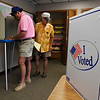 Larry Simpson and Rick Simpson take advantage of early voting Thursday August 23, 2018 at the Garfield County Election Board. Early voting continues Friday 8-6 and Saturday 9-2. (Billy Hefton / Enid News & Eagle)