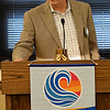 Enid city manager, Jerald Gilbert, talks about the Kaw Lake pipeline at the Noon Rotary Club luncheon Monday August 20, 2018. (Billy Hefton / Enid News & Eagle)