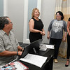 Tom Nix accompanies Cathy Nulph, Angie Luthye and Kristi Browne during a rehearsal session Tuesday August 28, 2018 at the Central National Bank Center. (Billy Hefton / Enid News & Eagle)