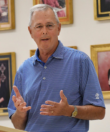 Republican corporation commissioner candidate, Brian Bingman, talks during a candidate forum at the YWCA Enid Saturday August 18, 2018. (Billy Hefton / Enid News & Eagle)