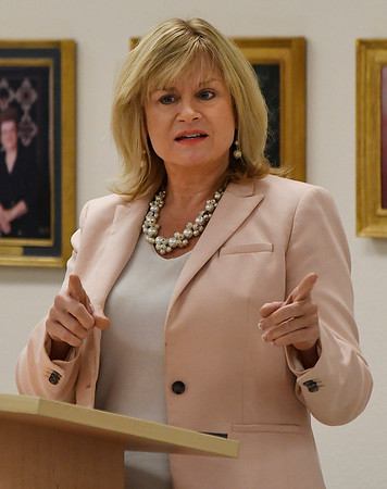 Republican labor commissioner candidate, Leslie Osborn, talks during a candidate forum at the YWCA Enid Saturday August 18, 2018. (Billy Hefton / Enid News & Eagle)