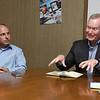 Former Oklahoma Speaker of the House, Jeff Hickman (left), listens to Mick Cornett after endorsing him for governor. (Billy Hefton / Enid News & Eagle)