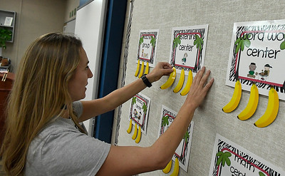 First year teacher, Kelsey Johnson, makes final preperations to her second grade classroom at Glenwood Elementary Thursday, August 8, 2019. Enid Public Schools begin classes August 13. (Billy Hefton / Enid News & Eagle)