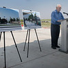 David McLaughlin addresses the audience during a groundbreaking ceremony for the Advance Soccer Complex Tuesday, August 3, 2021. (Billy Hefton / Enid News & Eagle)