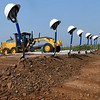 Shovels and hard hats await during the groundbreaking ceremony for the Advance Soccer Complex Tuesday, August 3, 2021. (Billy Hefton / Enid News & Eagle)