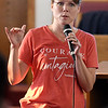 Melissa Crabtree addresses the audience during a town hall meeting Monday, August 31, 2021 at First Missionary Baptist Church. (Billy Hefton / Enid News & Eagle)