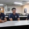 New Enid firefighters (left to right), Briley Parker, Devan Mckee and Dakoda Sprague, during an interview Monday, August 2, 2021 at Enid Station 1. (Billy Hefton / Enid News & Eagle)