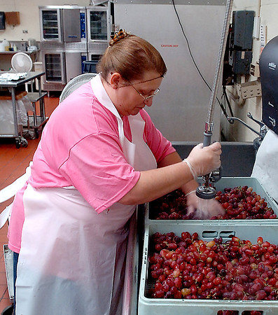 Kathy Piper washes grapes for lunches at the elementary schools Thursday at the Enid Public Schools central kitchen. (Staff Photo by BILLY HEFTON)