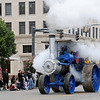 "H.E. Cummins ""The Baker"" steam-powered engine rolls west on Randolph during the Cherokee Strip Celebration parade Saturday. (Staff Photo by BONNIE VCULEK)"