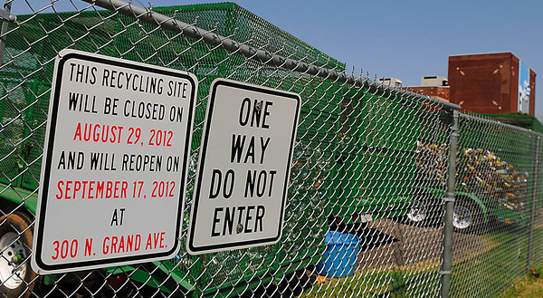 Recycling Center in downtown Enid will close and reopen at 300 N. Grand. (Staff Photo by BILLY HEFTON)