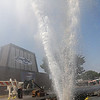 A geyser of water erupts from a broken water main Friday at 905 W. Rush. (Staff Photo by BONNIE VCULEK)