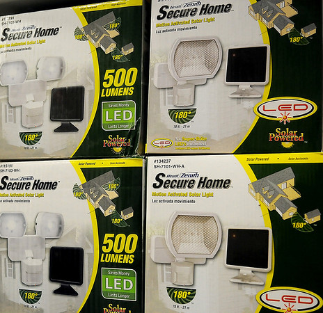 Secure Home LED solar powered motion detectors are available to home owners, who wish to provide extra exterior protection for their property during the holiday season. (Staff Photo by BONNIE VCULEK)